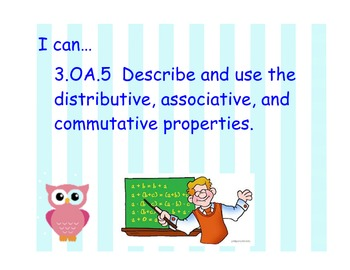 Owl Theme Student Friendly Common Core Standards for 3rd Math OA