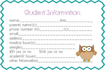 Owl Theme Student Info Cards