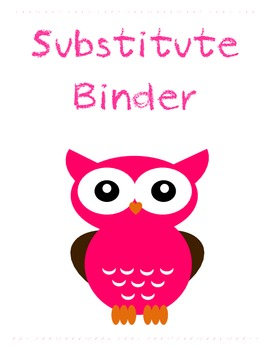 Owl Theme Substitute Binder Cover Label