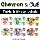 Table & Group Labels: Chevron & Owl Theme