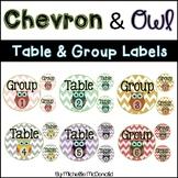 Table & Group Labels: Chevron & Owl Theme