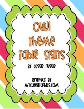 Owl Theme Table Number Signs