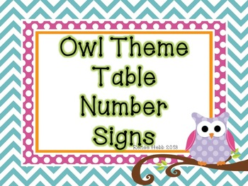 Owl Theme Table Signs