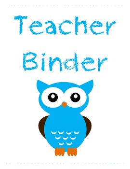 Owl Theme Teacher Binder Cover Label