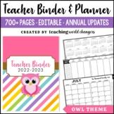 Owl Teacher Binder
