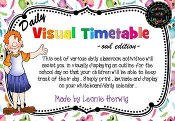 Owl Theme Visual Timetable- Daily Chart- Free