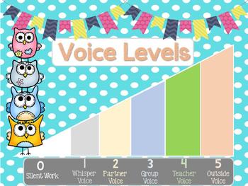 Owl Theme Voice Level Chart *FREEBIE*