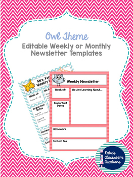 Owl Theme Weekly or Monthly Newsletter Templates EDITABLE