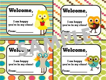 Owl Theme- Welcome Tags