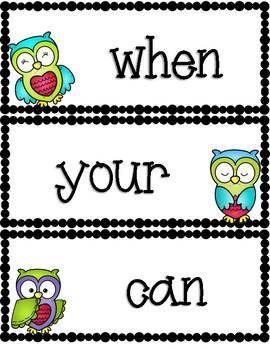 Owl Theme Word Wall