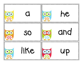 Owl Theme Word Wall Cards