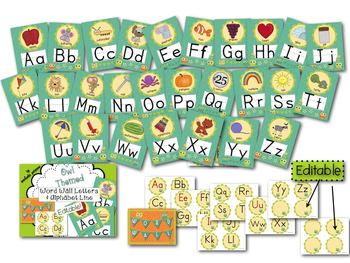 Owl Theme Word Wall Letters and Alphabet Line Posters (Editable)