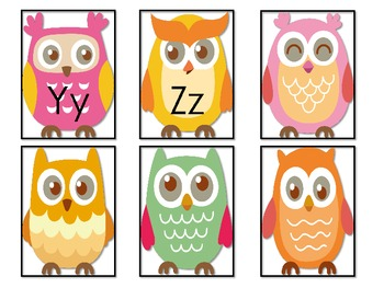 Owl Theme Word Wall Letters or ABC Flash Cards