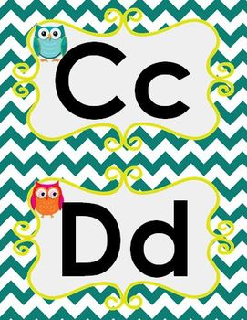 Owl Theme Word Wall letters
