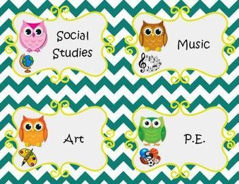 Owl Theme agenda pieces
