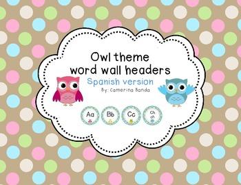 Owl Theme word wall headers spanish version