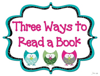 Owl Themed 3 Ways to Read a Book Poster Set