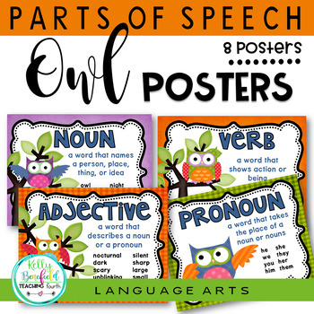 Grammar: Parts of Speech Posters Owl Theme Classroom Decor