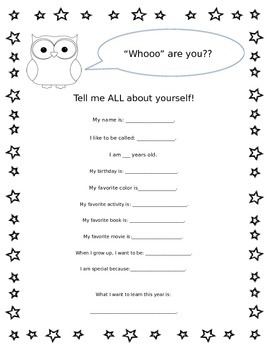 """Owl Themed """"All About Me"""" Handout"""