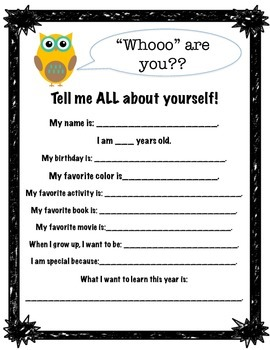 "Owl Themed ""All About Me"" Handout *FREEBIE*"