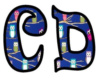 Owl Themed Alphabet Bulletin Board Letters