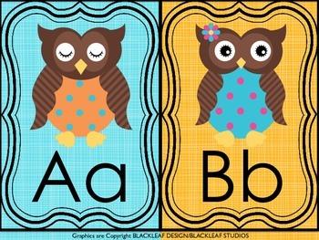 Owl Themed Alphabet Poster Cards