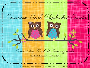 Owl Themed Alphabet Poster Cards in Cursive