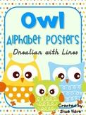 Owl Themed Alphabet Posters {Hoot Bird} DNealian Font {Handwriting Lines}