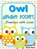 Owl Themed Classroom Alphabet Posters DNealian Font