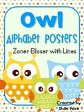Owl Themed Classroom Alphabet Posters  Zaner Bloser Font