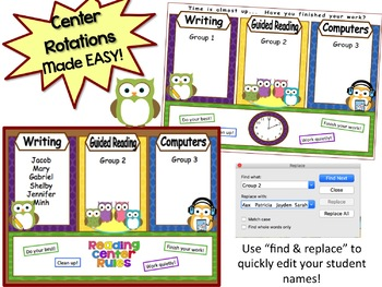 Owl Themed Automated Reading Rotation for 3 Guided Reading Groups