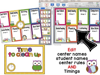 Owl Themed Automated Reading Rotation for 8 Guided Reading Groups