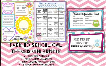 Owl Themed Back to School MINI BUNDLE Game, Activity, Photo Prop, and Info Cards