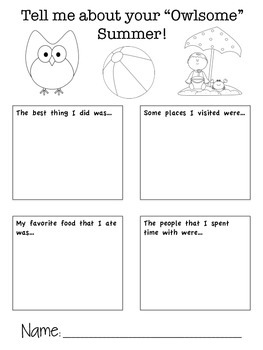 Owl Themed Back to School Handout