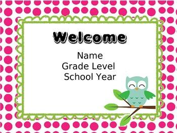 Owl Themed Back to School Night Presentation
