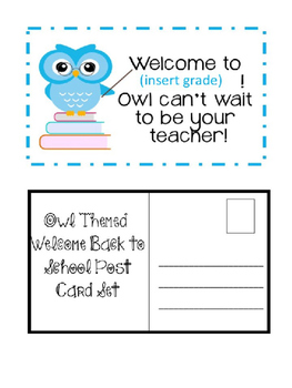 Owl Themed Back to School Post Cards (Editable)