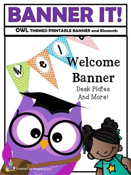 Owl Themed Banner Set with Desk Plate and Badge