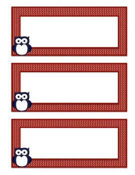 Owl Themed Basket Labels (Navy Blue/Red)