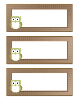 Owl Themed Basket Labels (Light Green/Brown)