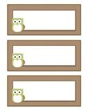 Owl Themed Basket Labels (Light Green/Brown)