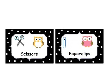 Owl Themed Basket Labels with Black & White Polka Dots: