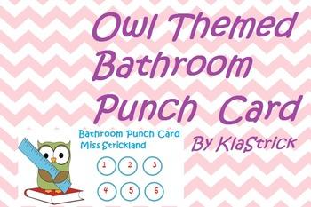 Owl Themed Bathroom Punch Card