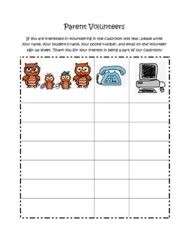 Owl Themed Beginning of Year Packet