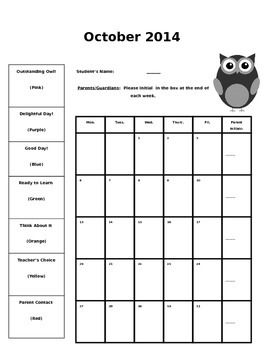 Owl-Themed Behavior Calendars {EDITABLE & Updated Each School Year}