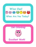 Polka Dot Owl Themed Behavior Clip Chart with a mini remin