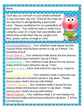 Owl Themed Behavior Clip Chart - Note to Parents