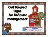 Owl Themed Behavior Management Signs