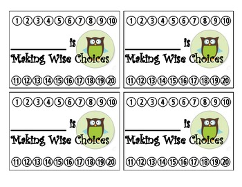 Owl Themed Behavior Reward Punch Cards