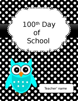 Owl Themed Binder Covers and Spines with Black and White Polka Dot Background