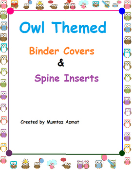 "Owl Themed Binder Covers&Spine Inserts 1"" With Chevron Patterns:"